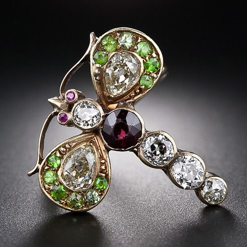 Antique Victorian Dragonfly Ring Set With Pear-Shaped And