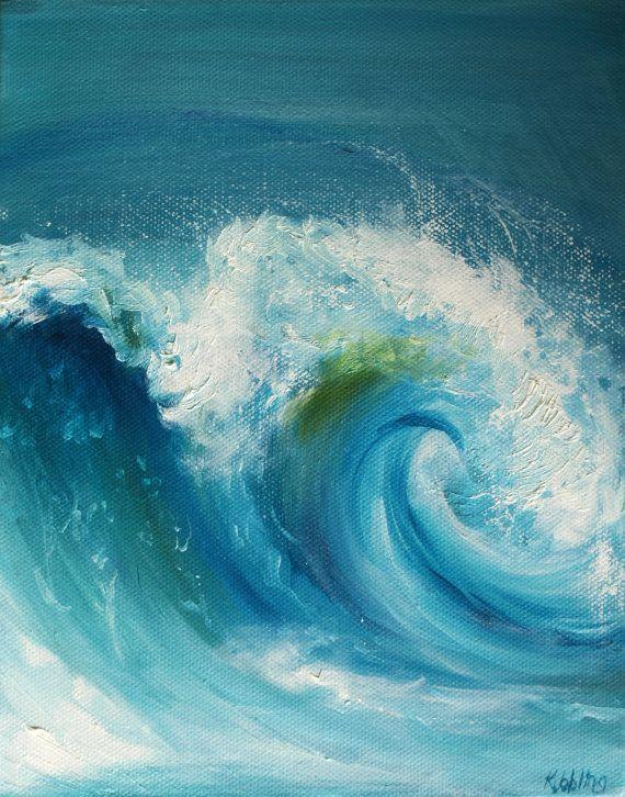 Wave Oil Painting Ocean Original 8x10 Blue Crush Canvas