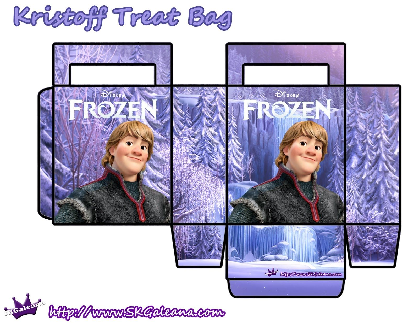 Frozen: Bolsas de Papel en Lila, para Imprimir Gratis.