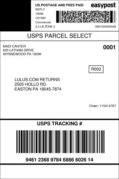 Lulus Return Label : lulus, return, label, Label, USPSER