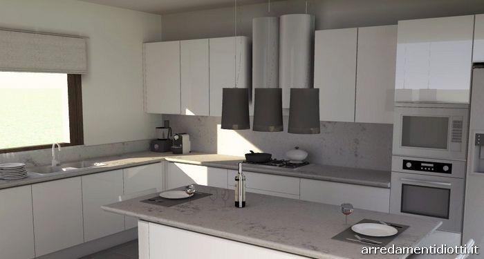 Cucina con gola laccata bianca idea diotti a f arredamenti cucina - Cucina bianca top grigio ...