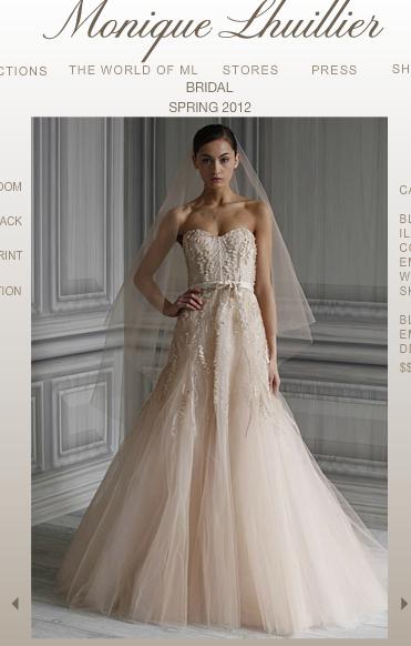 monique lhuillier blush wedding dress spring 2012