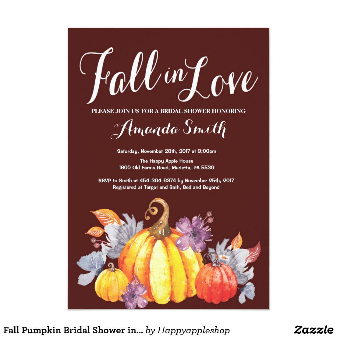 Fall Pumpkin Bridal Shower invitation | Bridal Shower Invitation ...