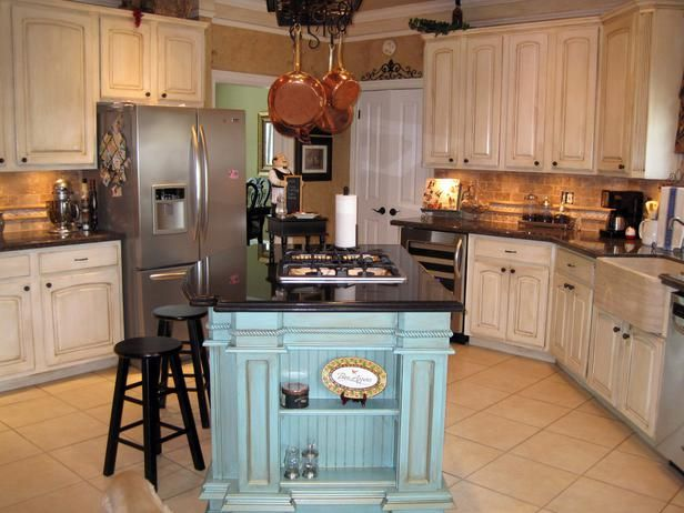Country Kitchen Designs With Islands kitchen island makeover - duck egg blue chalk paint | country