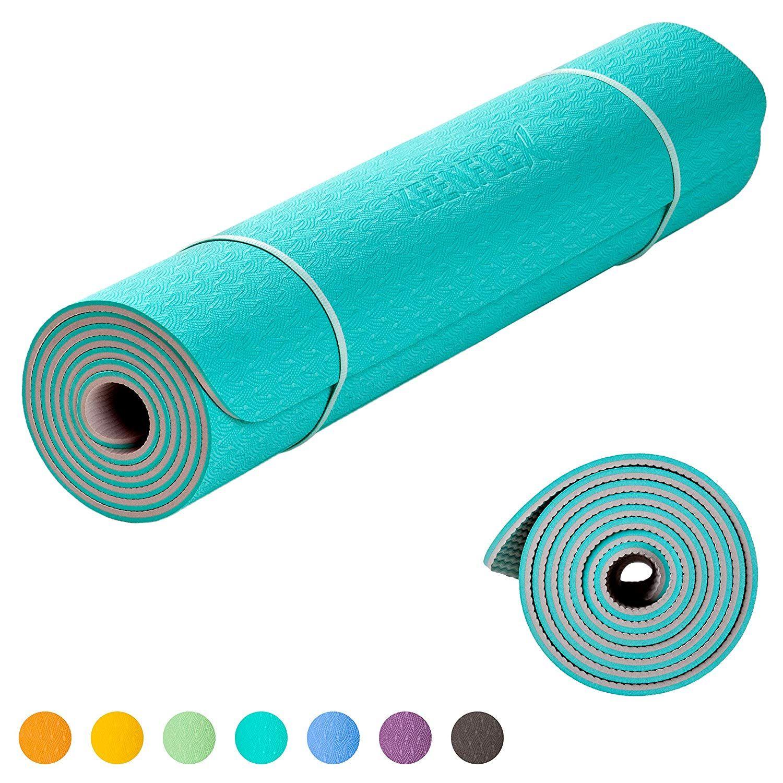Keenflex Grand Tapis De Yoga Premium Epais Et Confortable Pour Pilates Fitness Sport Gym Ecologique Et Recyclables Turquoise Tapis Yoga Grands Tapis Yoga