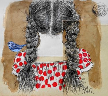 "Saatchi Art Artist Loui Jover; Drawing, ""...with a bluebird on her shoulder"" #art"
