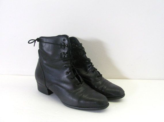 1980s Ankle Boots,Womens Size-6,Granny Style Lace Up,by Auditions Original Box