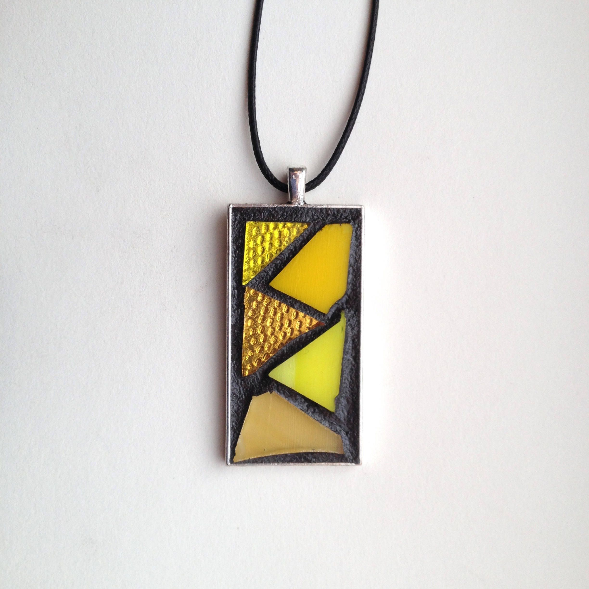 "Gorgeous abstract style yellow stained glass mosaic pendant. Silver-plated base with 18"" waxed cotton cord. Hand created by NiagaraGlassMosaics on Etsy"