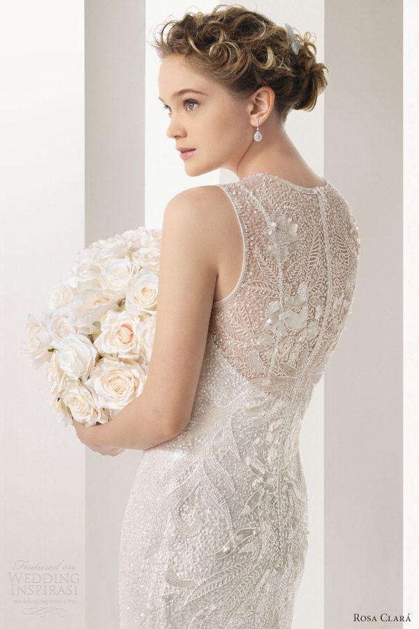 Rosa Clara Bridal 2014 Soft Ulric Sleeveless High Neck Beaded Sheath Wedding Dress Illusion Portrait Back
