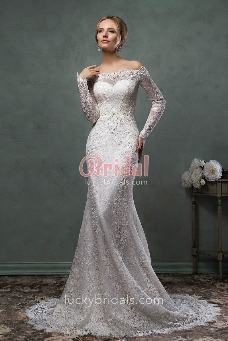 Mermaid tail wedding dress  Elegant Mermaid Lace Wedding Dress with Illusion Offtheshoulder
