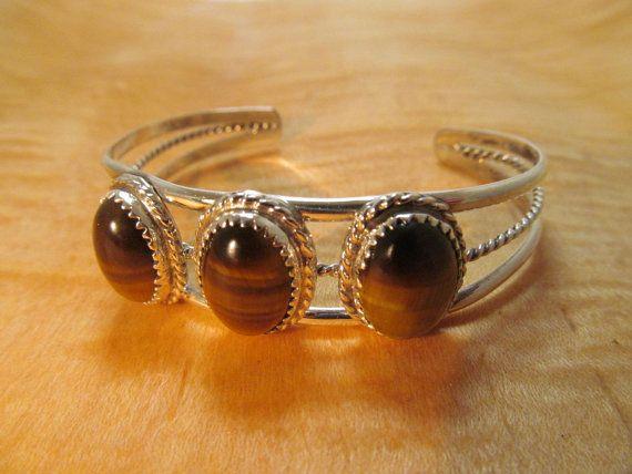 Southwestern Silver Bracelet Tiger Eye by TaxcoandMore on Etsy