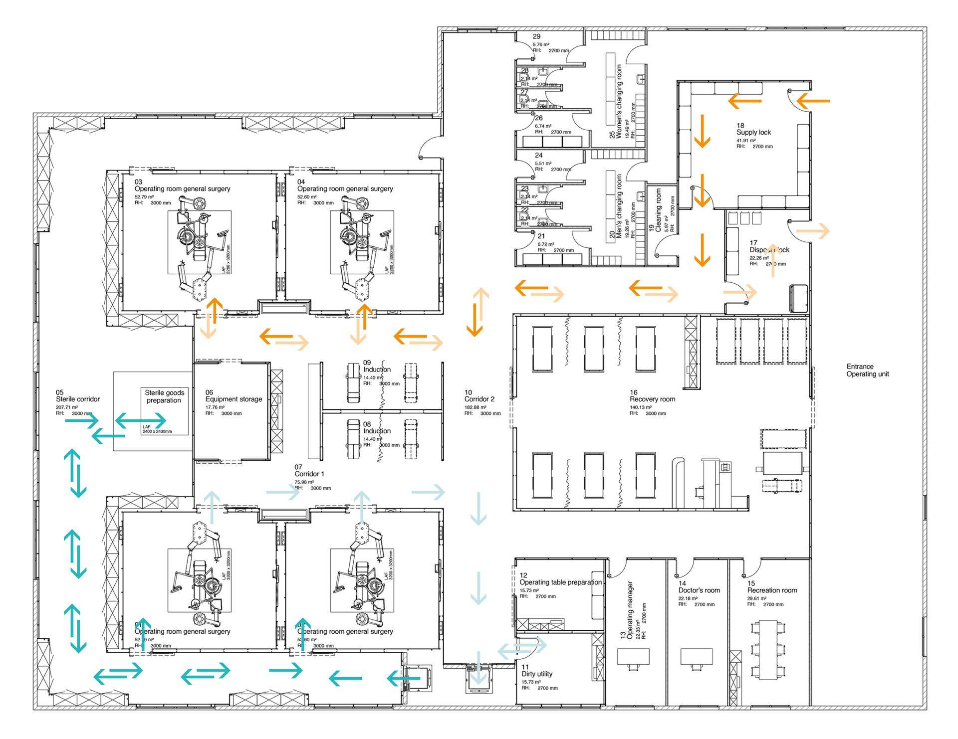 4 Operating Rooms Operating Room Hospital Plans Hospital Design