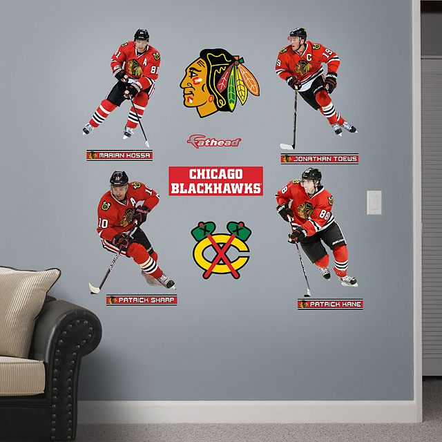 Chicago Blackhawks Power Pack Fathead Wall Graphic Chicago Blackhawks Wall Decal Sports Home Decor