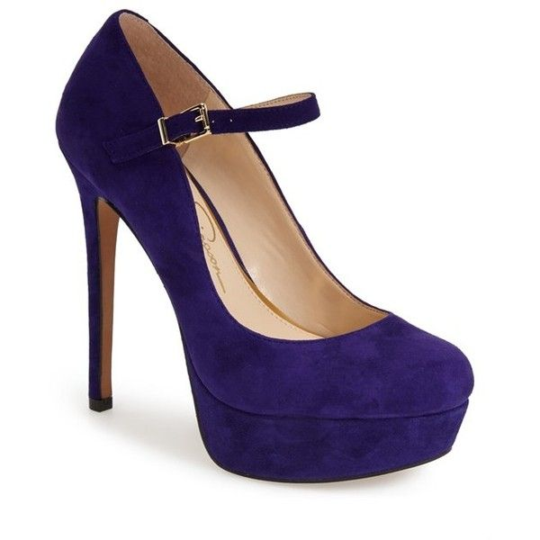 "Jessica Simpson 'Sailes' Platform Pump, 5"" heel (1,015 MXN) ❤ liked on Polyvore featuring shoes, pumps, heels, sapatos, zapatos, deep purple suede, suede pumps, platform shoes, mary jane platform pumps and jessica simpson shoes"