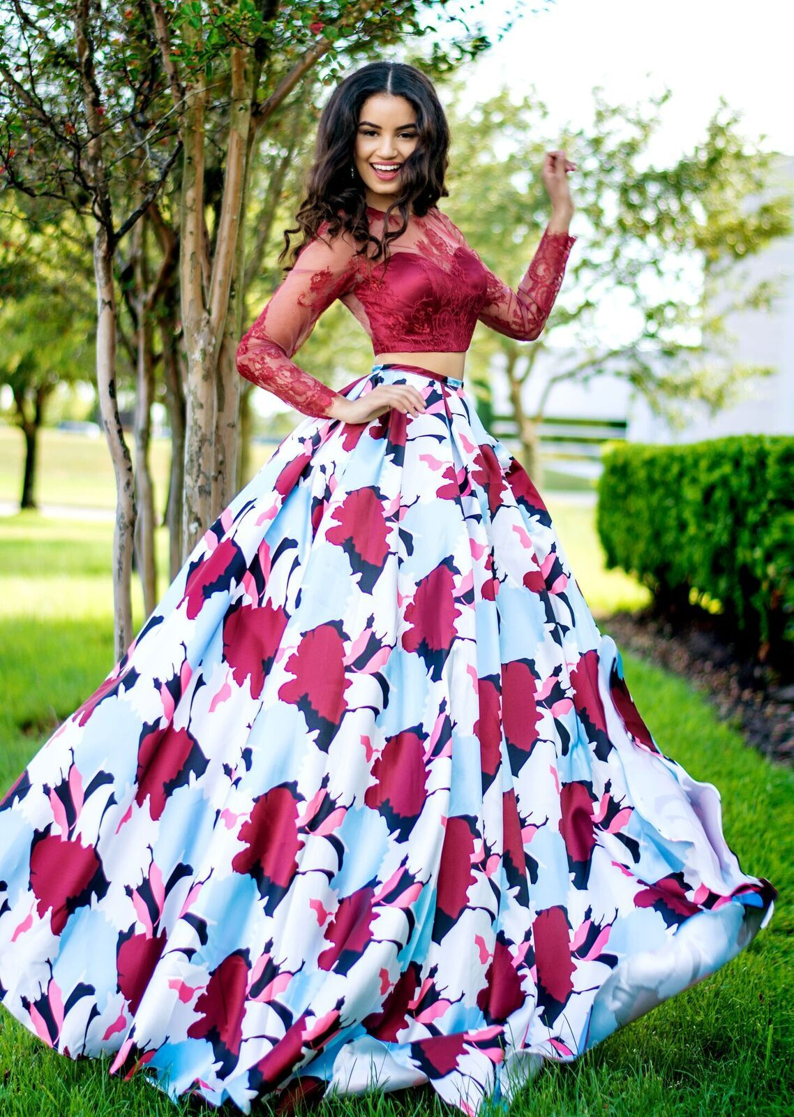 Karishma Creations Two Piece Prom Dress With Lace Long Sleeve Top And Floral Patterned Full Sk Piece Prom Dress African Fashion Dresses Two Piece Wedding Dress [ 1600 x 1138 Pixel ]
