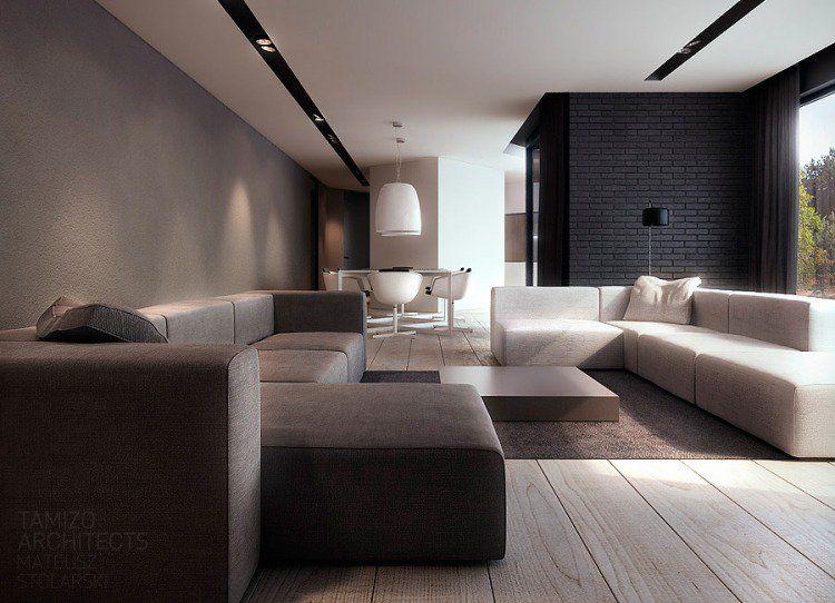 architecture int rieure moderne style minimaliste 50 id es mur de briques noir canap s en. Black Bedroom Furniture Sets. Home Design Ideas