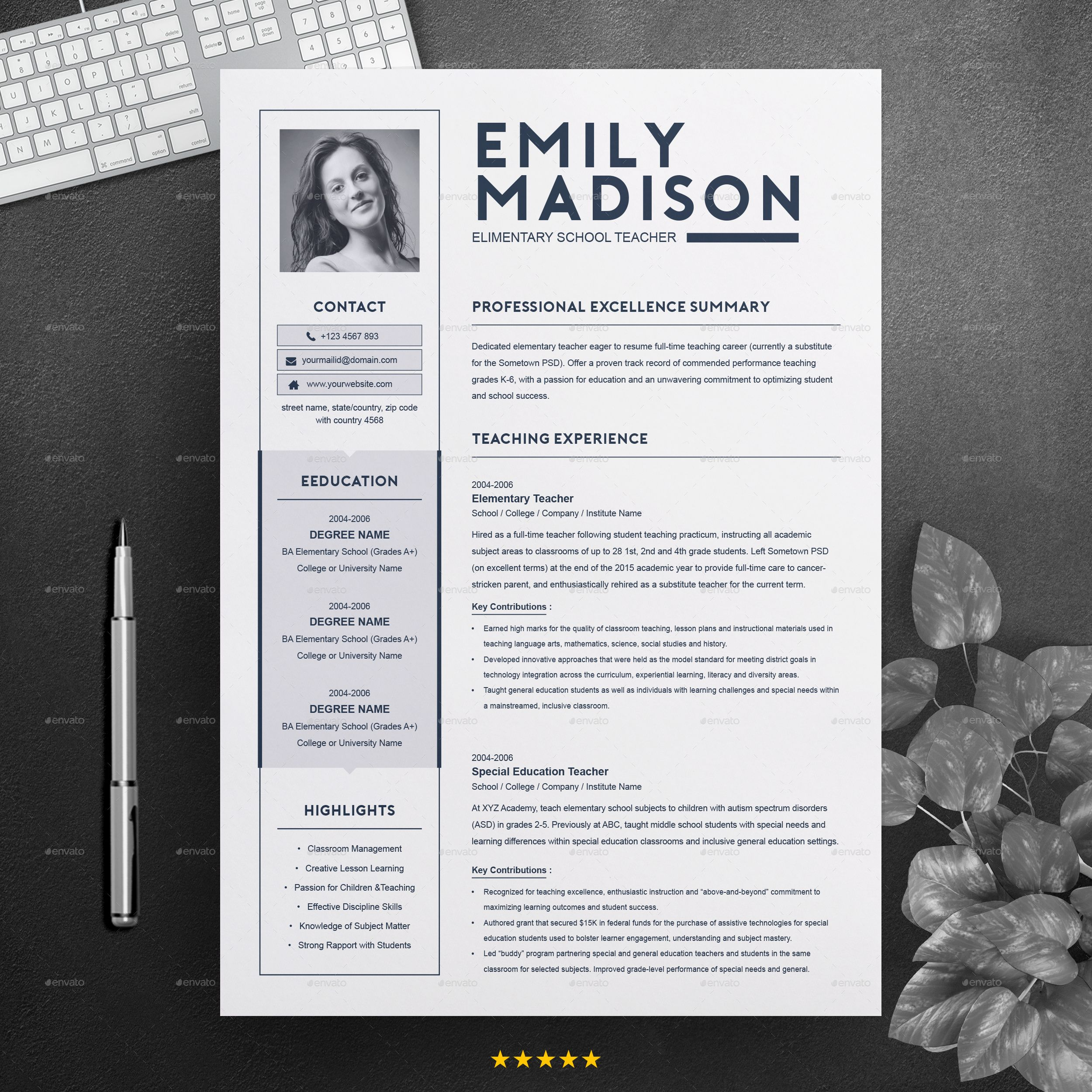 Teacher Resume Template For Ms Word Cover Letter Template