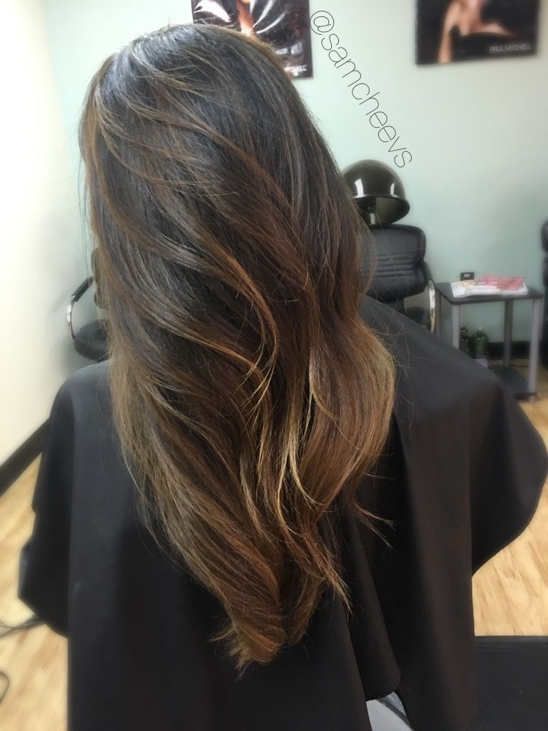 Subtle brown painted highlights for dark brown black hair types subtle brown painted highlights for dark brown black hair types ombre balayage pmusecretfo Choice Image