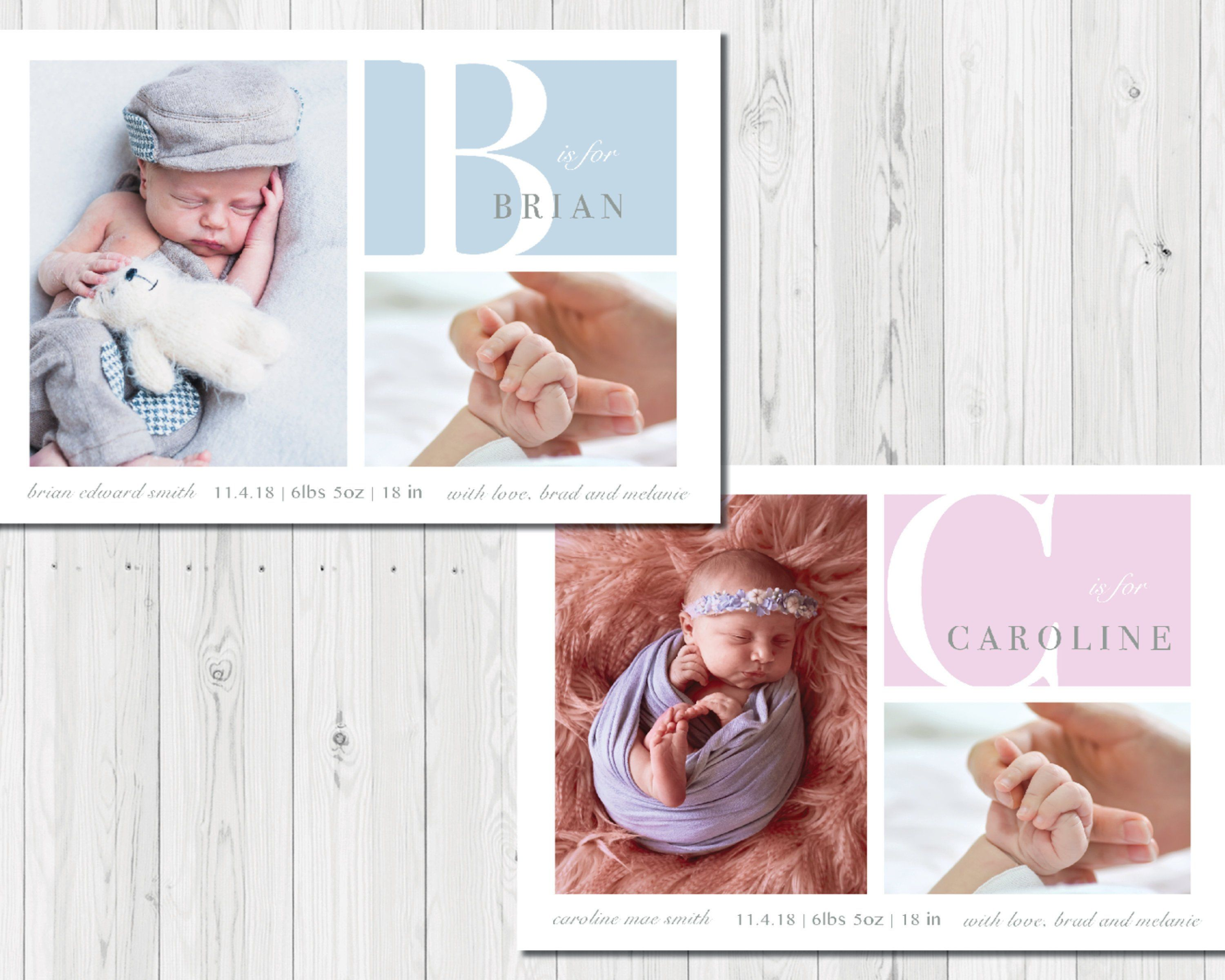 Birth Announcement - Blue or Pink Baby Announcement - Newborn 5x7 card -  PRINTABLE DOWNLOAD https