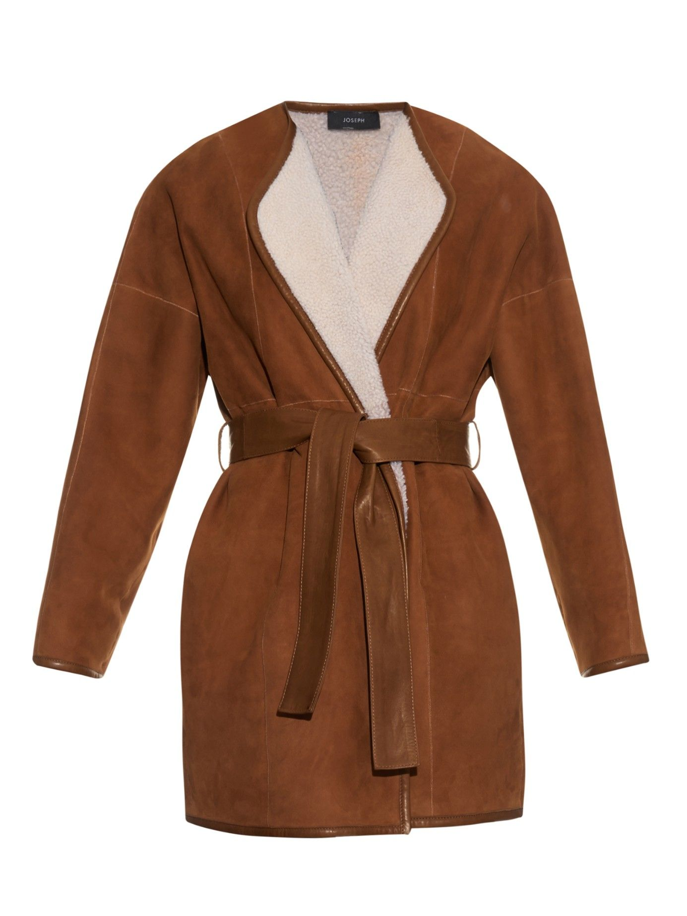 Joseph belted shearling coat in brown tan other pinterest