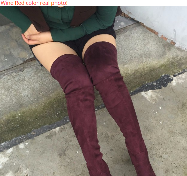 850db698893 Women Stretch Faux Suede Slim Thigh High Boots Sexy Fashion Over the Knee  Boots High Heels Woman Shoes Black Gray Winere www.essish.com