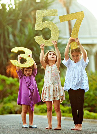 Girls Age Family Picture, Birthday Numbers!