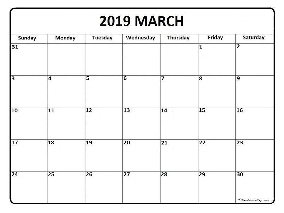 image regarding Printable September Calendar referred to as March Calendar 2019 Printable Template 100+ March 2019