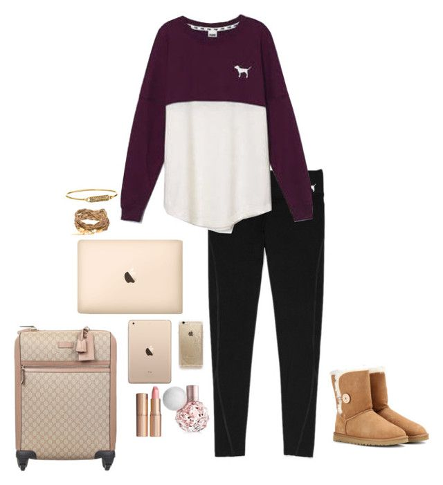 """I'm Flying to Barcelona!"" by elizabeth-southern-prep ❤ liked on Polyvore featuring Victoria's Secret, Rifle Paper Co, Rebecca Minkoff, UGG Australia, Gucci and Charlotte Tilbury"