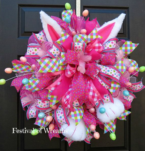 Easter Wreath Easter Deco Mesh Wreath by FestivalofWreaths ...