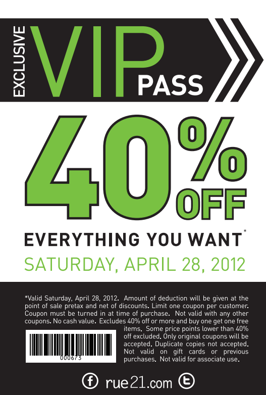 picture regarding Rue 21 Printable Coupons titled 40% off at rue21! #coupon CheckPoints Discounts! Printable