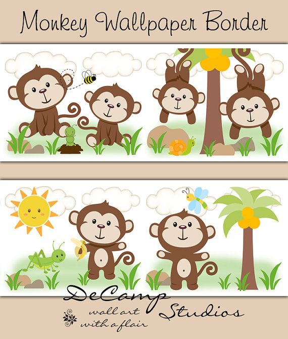 Jungle Monkey Wallpaper Border Wall Decals For Baby Boy Cute