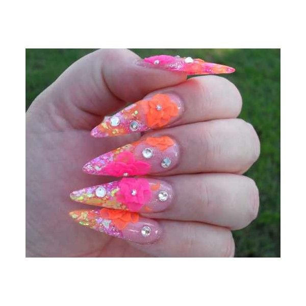 Day 33 Neon Floral Stiletto Nail Art ❤ liked on Polyvore