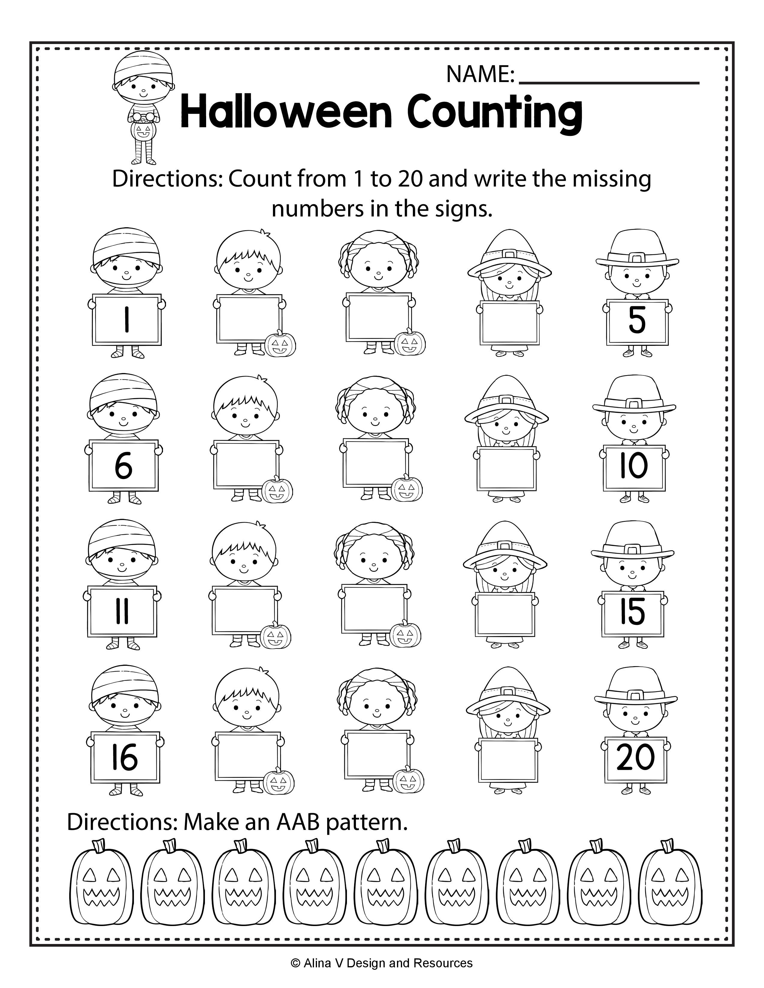 Halloween Activities Kindergarten - Halloween Math Worksheets ...