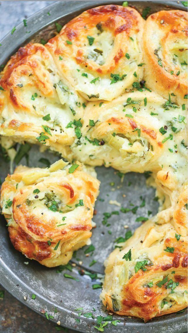 Make Pull-Apart Cheesy Spinach and Artichoke Pinwheels