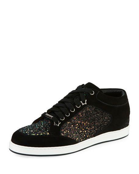 b2b1992a63d JIMMY CHOO Miami Glitter Low-Top Sneaker