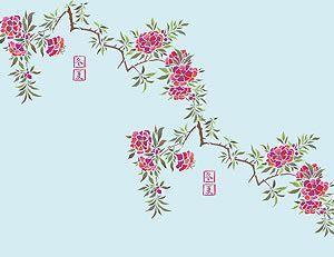 Chinese Azalea Flower Stencil Henny Donovan Motif Flower Stencil Azalea Flower Chinese Flowers