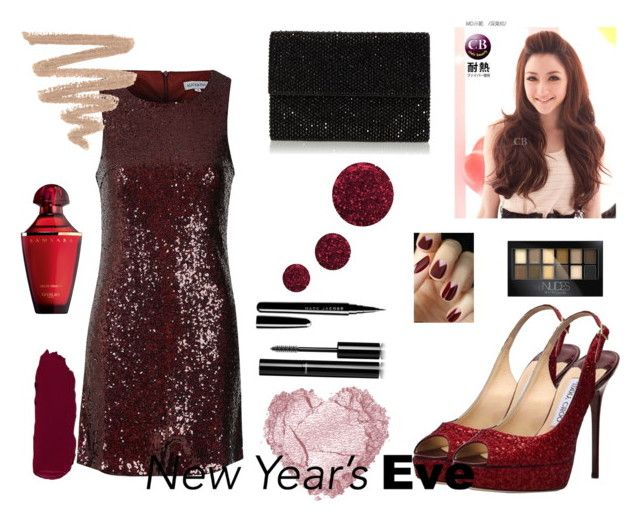 """New Year's Eve: Red Sparkles"" by rikaaglich ❤ liked on Polyvore featuring Alice & You, Jimmy Choo, Clair Beauty, Topshop, Maybelline, Marc Jacobs, Chanel and nyestyle"