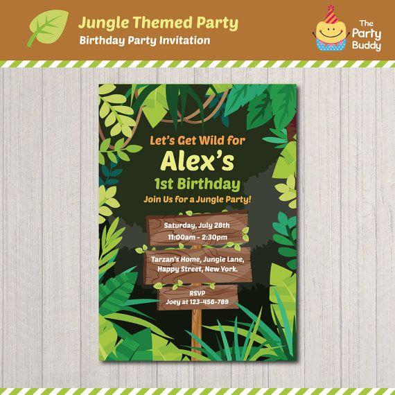 Jungle Theme Birthday Invitation Design  Boys by ThePartyBuddy  #jungleparty #woodsign #invitation #forest #birthdayinvite #jungleinvite #digitalprintable