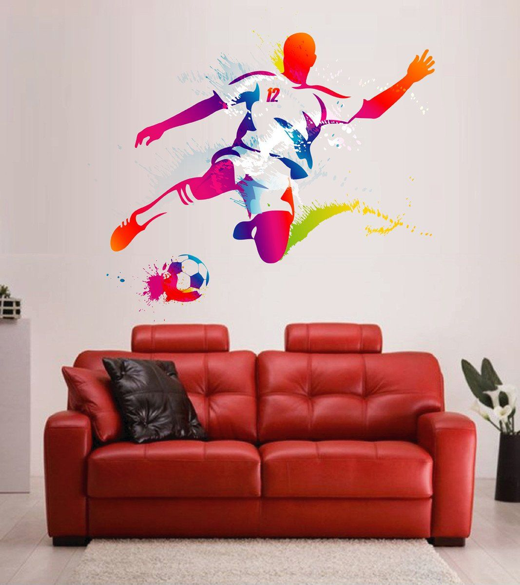 cik120 full color wall decal soccer football ball sport on wall stickers for hall id=45209