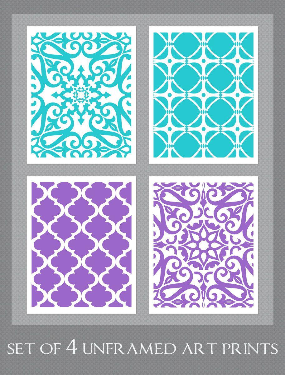 Purple turquoise art bedroom art set of x prints girl