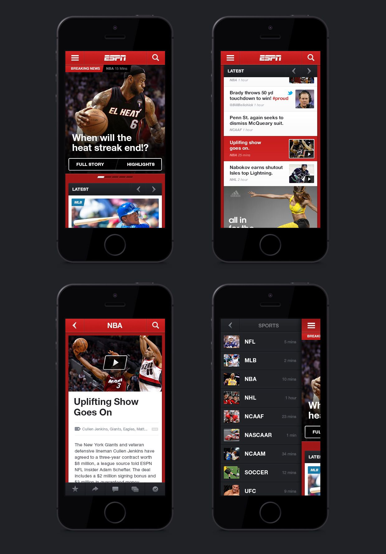Espn Mobile Nba Sports Espn App Design