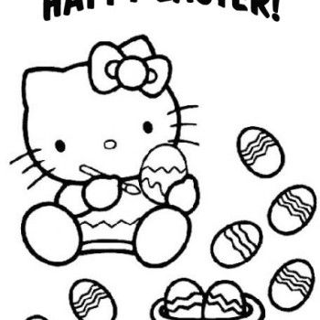 Easter Hello Kitty Colouring Page