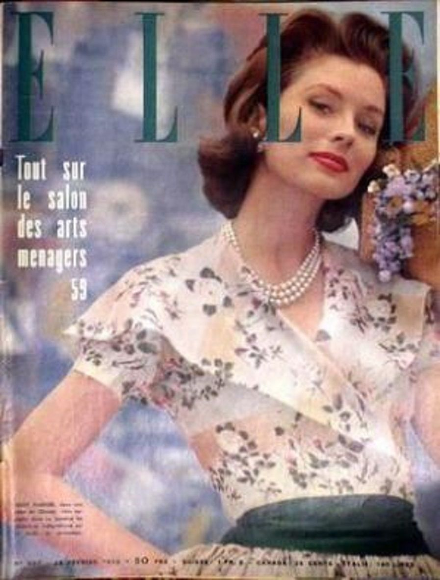 French Elle 1959 Cover Girl Suzy Parker FOR Chanel Leslie Caron Tintin  Milou  b1f66382c3f