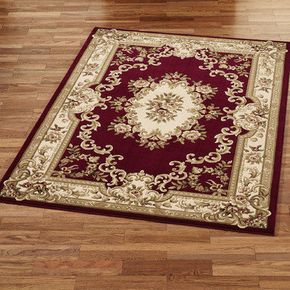 Imperial Aubusson Area Rugs - deep red (burgandy)