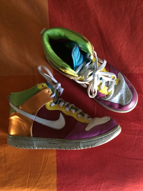 Vintage 90s Nike High Top Sneakers Rainbow Multicolor US