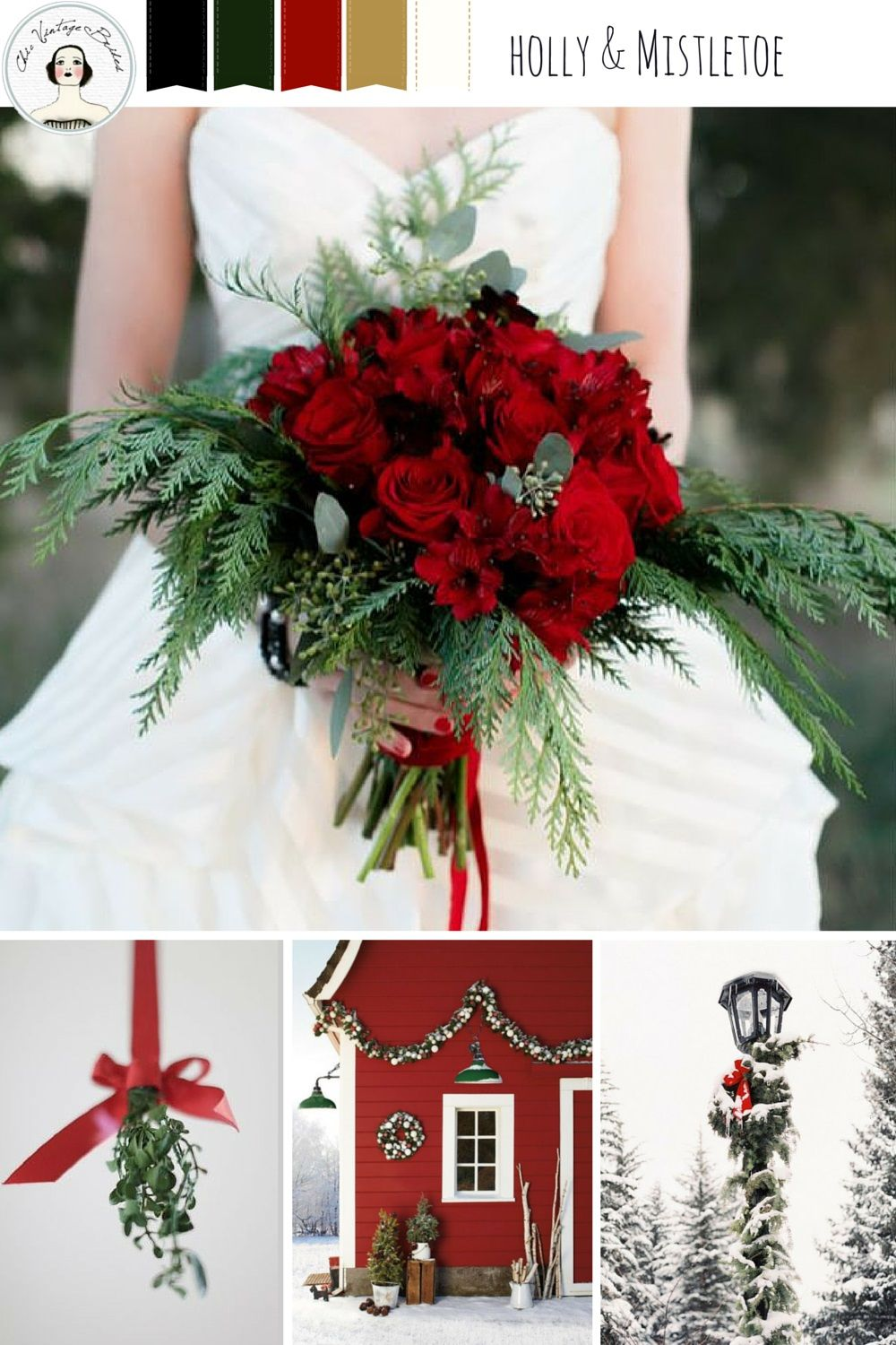 holly and mistletoe christmas wedding inspiration in rich shades of red gold and green