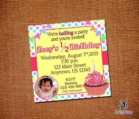 Half Birthday Party Invitation Girl Cupcake 6 Month Invite