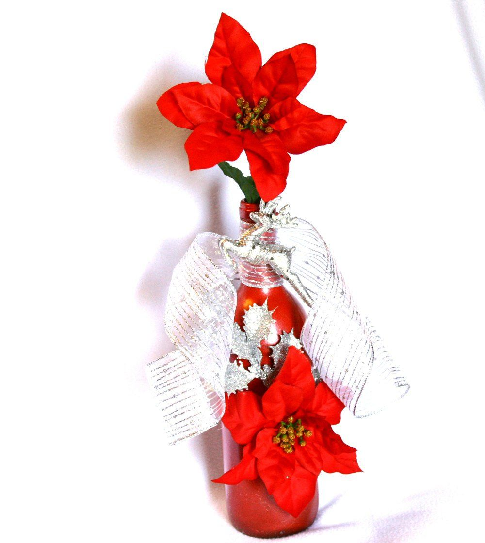 Red Christmas Decorative Wine Bottle Silver Ribbon Red Poinsettia Gift Handmade By Nevadaladyj Wine Bottle Decor Wine Bottle Centerpieces Holiday Tree Toppers