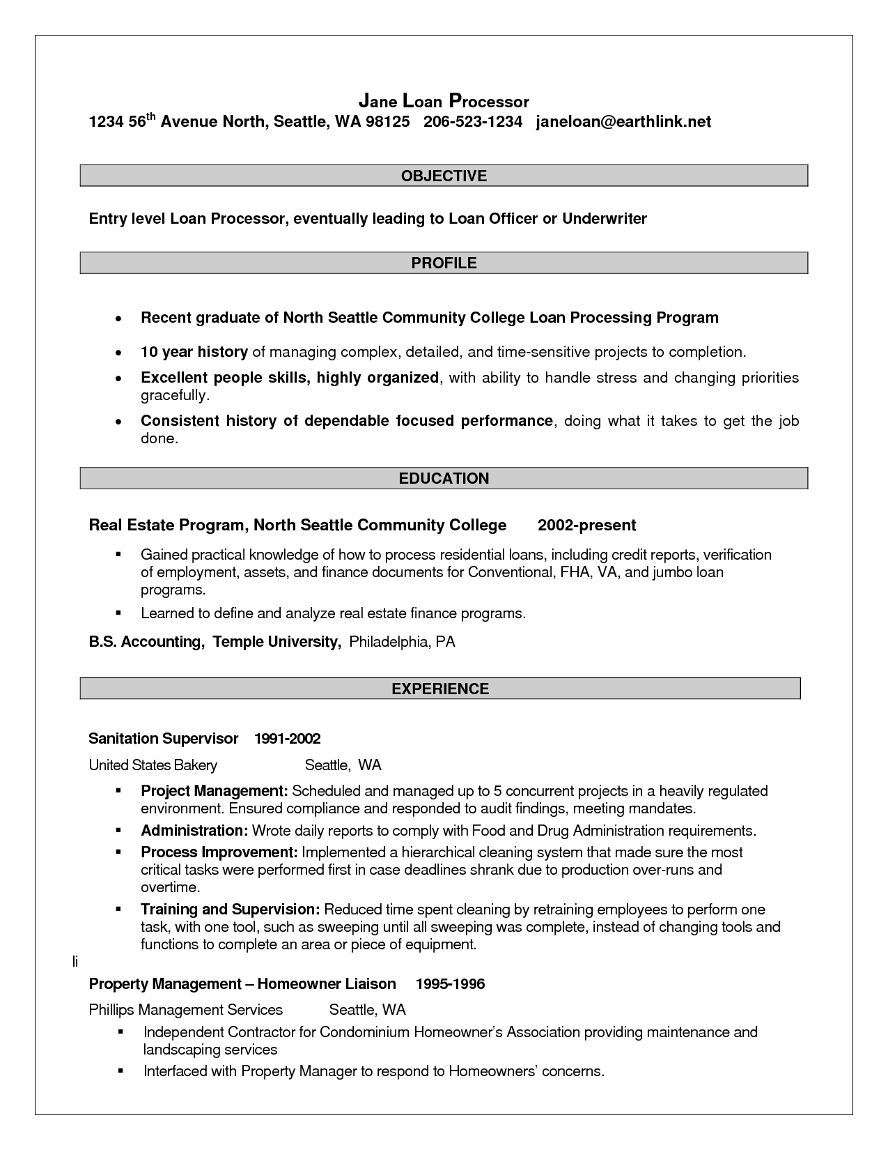 resume for loan processor