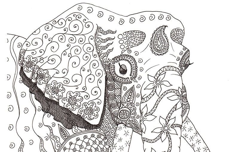 Difficult Coloring Pages Elephants | coloring | Pinterest | Adult ...